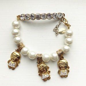 Gold, pearl & rhinestone children charm bracelet